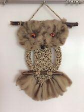 Vintage Macrame Owl Wall Hanging Hippie Boho 1970's Groovy Handmade Puffy Eyes