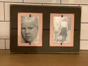 NEW Vintage Grey And Pink Distressed Wood Picture Photo Frame Dual 4x6 Picture