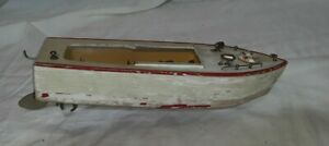 """Vintage 1950s 1960s Toy Wooden Boat Battery Operated Incomplete Untested 10"""" L"""