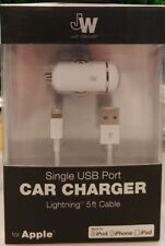 Just Wireless - Apple MFi Vehicle Car Charger Life Time Warranty - White - NEW