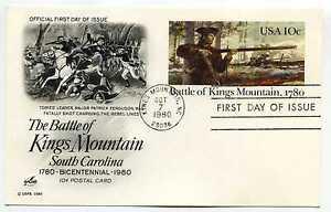 UX85 Battle of Kings Mountain, 1780, ArtCraft, FDC
