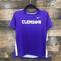 New Nike Purple Men's Clemson Tigers Short Sleeve Activewear Top Size Medium