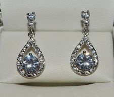 18k/18ct White Gold Filled Stud Drop/Dangle Earrings Made With Swarovski Crystal