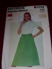 1974 BUTTERICK #3765 - LADIES (BEGINNER) BACK WRAP-AND-GO SKIRT PATTERN 12-14 FF