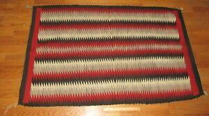 Vintage Early Native American Indian Navajo Large Wool Eye Dazzler Blanket Rug