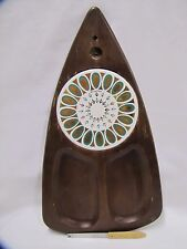 Cheese Board Fred Press Vintage 1960s Wood & Ceramic Design Large Sere Wood