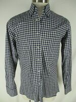 Canali 1934 Mens Blue Plaid Long Sleeve Cotton Shirt L Italy Made