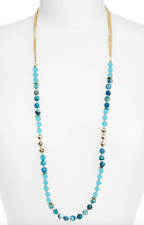 Nordstrom Semiprecious Stone Beaded Long Necklace Odyssey/Gold Women's 0795