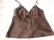 New Size 10-12 Ladies Silky Satin Strap 3/4 V Neck PJs Brown