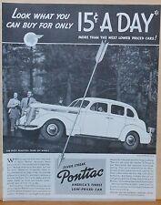Vintage 1937 ad for Pontiac - Silver Streak Pontiac - Finest Low Priced Car