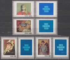 POLAND 1971 **MNH SC#1839/45+B123+ labels, Stamp Day - Woman in Polish painting.