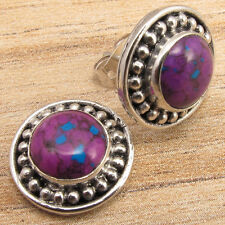 One Of A Kind Stud Earrings 925 Silver Plated Purple Copper Turquoise