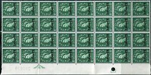 Tangier British PO Blk of 32 1956 1½d SG315 ** MNH QE2  FOLD AT 5TH ROW (002991)