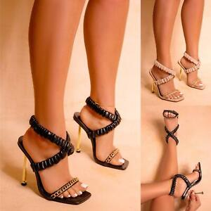 WOMENS RUCHED CROSSOVER STRAP GOLD HIGH HEELS CHAIN LADIES SANDALS SHOES SIZE