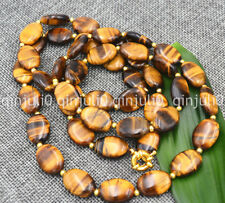 Long 36 inghes genuine natural 12x16mm tiger eye gems stone oval beads necklace