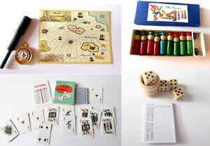 Spiel Würfel Block Kegel Kartenspiel Fernrohr Kompass Puppenstube Miniatur 1:12