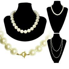 klassische Perlenkette Perlen Perlmutt Kette Halskette schlicht weiss creme