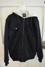 Joker Brand Men's Black Hoodie Sweatshirt Coat Wool Lined XXL