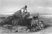 NUBIA, Hungry NOMAD BISHAREEN ARAB MADHI DESERT CAMP ~ 1870 Art Print Engraving
