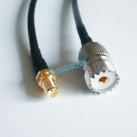 SO239 UHF PL259 Female Plug to SMA Jack bulkhead RF RG58 Cables 6inch Router