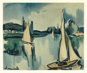 """Maurice Vlaminck lithograph by Mourlot """"Sailing Boats on the Seine"""""""