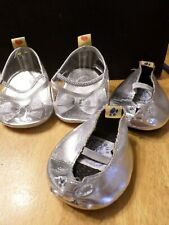 Lot 2  Pairs Build a Bear Shoes - Silver and Clear Heels