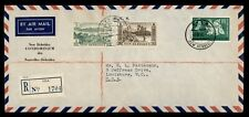 DR WHO 1963 NEW HEBRIDES VILA REGISTERED AIRMAIL TO USA OHMS  f33816