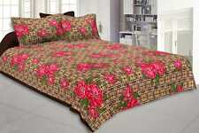Indian Floral Traditional Print King Size Cotton Bed Sheet With Pillow Covers
