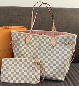 Louis Vuitton Neverfull Mm Tote Bag Damier Azur W/ Rose Ballerine Lining
