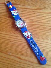 Reloj de pulsera niños Niñas Hello Kitty analógico correa de acero, azul de silicona delgada