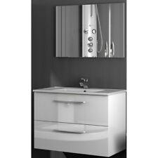 Mobile bagno sospeso incluso di lavabo  2 cassetti 80 cm Bianco