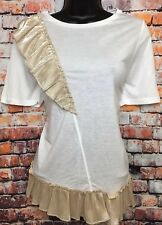 NEW RIVER ISLAND 10 White Short Sleeve T-shirt Tunic Top Gold Foil Frills