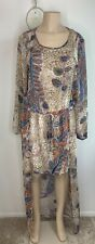 Beach Cover Up Maxi Dress by aniina size large brown blue red sheer longsleeve