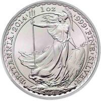Brand New 2014 UK Great Britain Silver Britannia 1oz Silver Bullion Coin