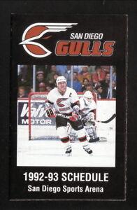 San Diego Gulls--1992-93 Pocket Schedule--Oasis