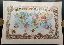 1951 - Carte du monde - Lithographie de Jacques Liozu - World Map Mappemonde