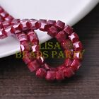 New 30pcs 8mm Cube Square Faceted Gold Foil Glass Loose Spacer Beads Deep Red