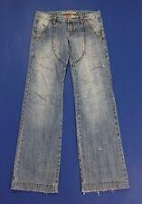 Bloom jeans donna W28 tg 42 denim usati dritta relaxed cargo vita bassa T2236