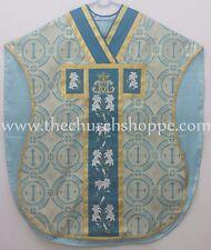 Marian Blue Chasuble. St. Philip Neri Style vestment Stole & mass set 5 pc, AM