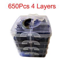 650Pcs 4Layers Car Door Bumper Trunk Fender Retainer Push Rivets Fastener Clips