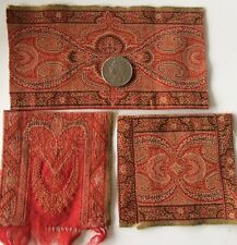 Antique Dolls dollhouse Rugs Red Brocade Salvage Lot Fragments Victorian Decor