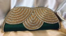 Green Gold Handbag Clutch Wallet Bollywood Indian Dress Purse Silk Diwali