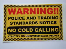 2 HOME SECURITY STICKERS  POLICE ALARM  WINDOW NOTICE NO COLD CALLERS