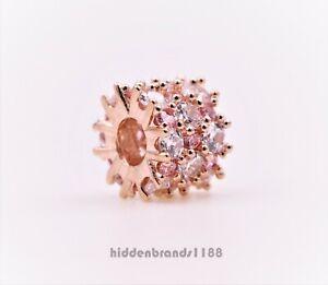 Authentic Pandora Charm Rose Gold Pink & Clear Sparkle  788487C01 #s3