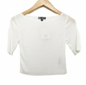 Topshop Womens Crop Top Size 4 Short Sleeve NWT Ribbed White