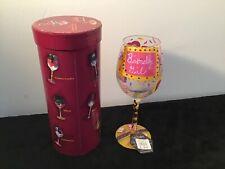 Lolita Birthday Girl Hand Painted Embellished Wine Glass Recipe Pink Purple