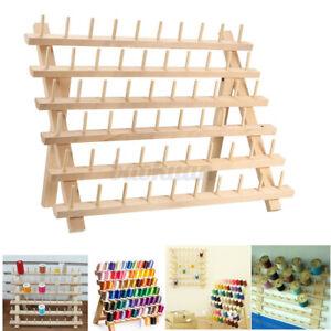 60 Wood Spools Sewing Thread Rack Stand Organizer Embroidery Storage Holder AU