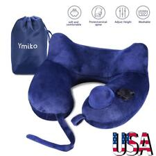 Velvet Push Inflatable U Shaped Travel Pillow Neck Support Head Rest Cushion US