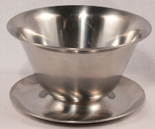 Stainless Steel Mayo Bowl With Attached Underliner Mid-Century Made in Denmark