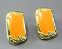 Vintage SOPHISTICATED PEACH ENAMEL Clip-On Earrings GOLD TONE LEAF FRAME Nice!